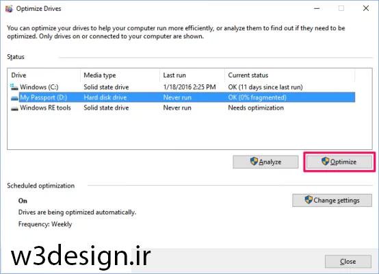 Disk Defragmenter : دیفرگ