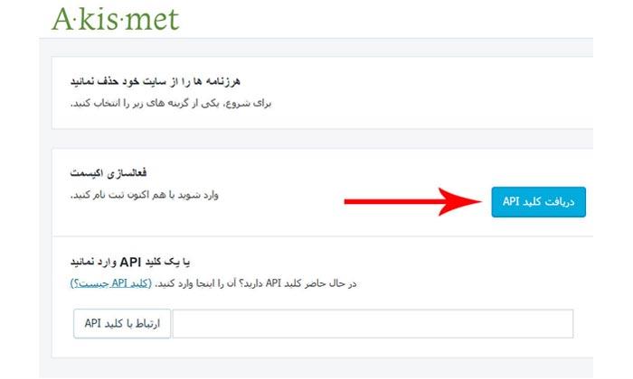 روی دکمه آبی رنگ دریافت کلید API کلیک میکنیم