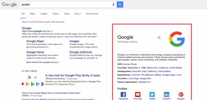 نمودار دانش گوگل از جهات مختلفی اهمیت دارد