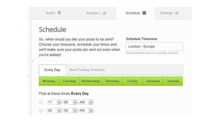 قابلیت زمانبندی (scheduling) در برنامه Buffer