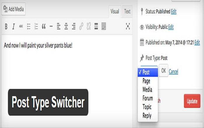 تغییر نوع پست ها در وردپرس با Post Type Switcher