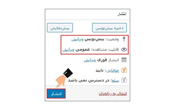 باکس انتشار برگه وردپرس
