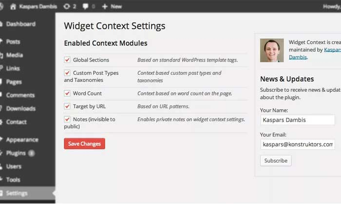 Widget Context یکی از ابزارک های وردپرس
