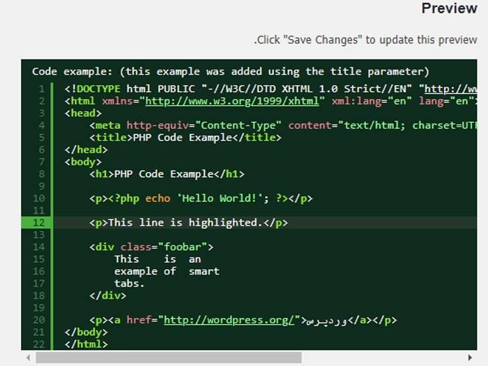 نمایش کد با افزونه SyntaxHighlighter