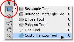نوشتن متن در شکل : انتخاب Custom Shape Tool