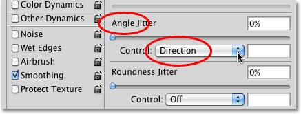 تنظیم گزینه ی Angle بر روی Direction