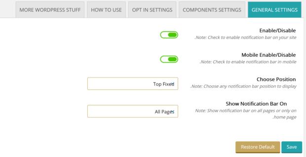 تنظیمات عمومی افزونه Apex Notification Bar