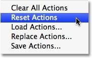 بارگذاری Actions Palette به صورت پیش فرض
